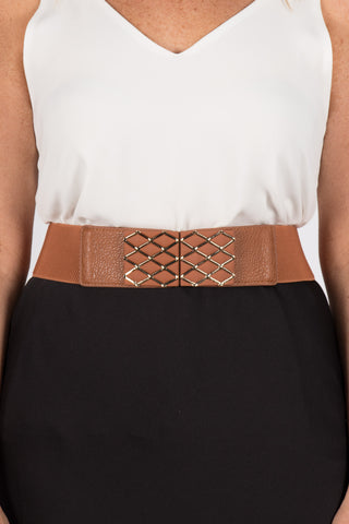 Wide Tan Stretch Belt