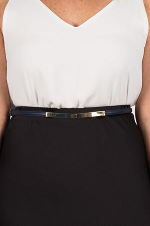 Skinny Adjustable Belt in Navy