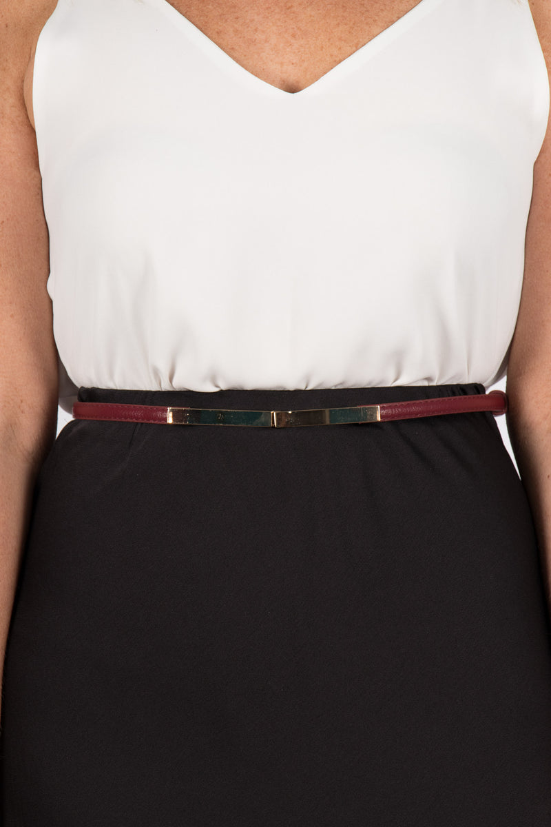 Skinny Adjustable Belt in Burgundy