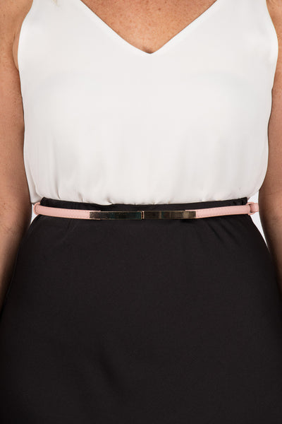 Skinny Adjustable Belt in Pale Pink