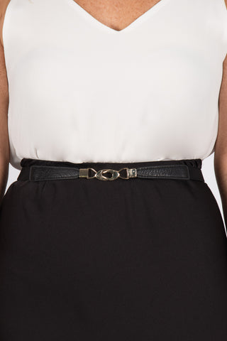 Skinny Black Stretch Belt (gold buckle)