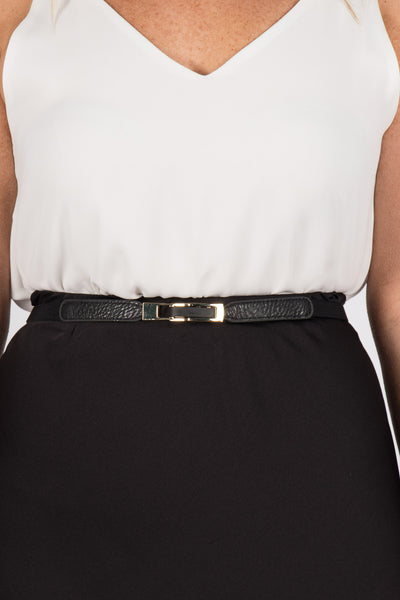 Skinny Black Stretch Belt