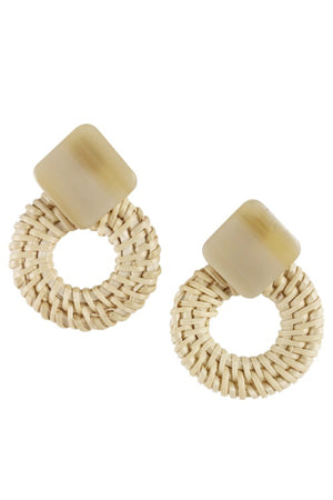 Cane Hoop Stud Earrings