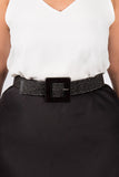 Tenzin Stretch Belt in Black/Square