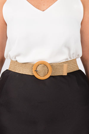 Carlton Stretch Belt in Natural/Circle