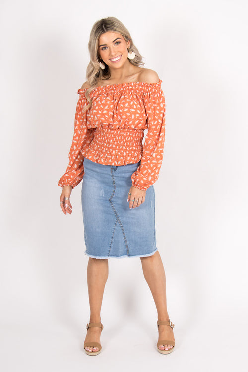 Audrey OTS Top in Orange