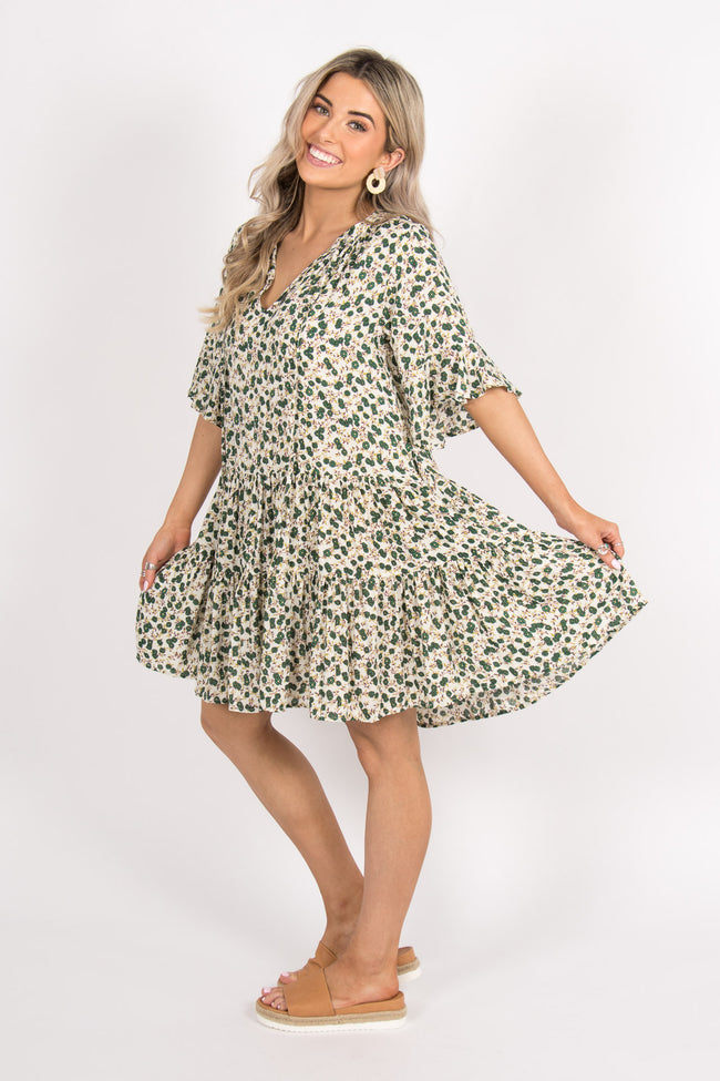 Delight Dress in Green Floral