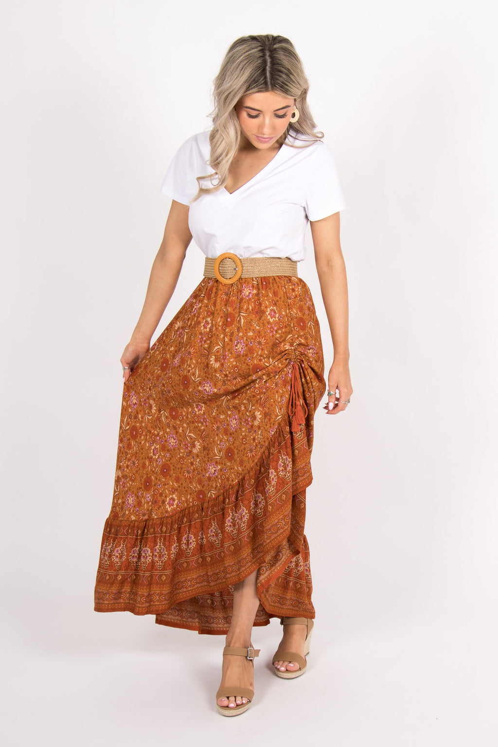 Jasmine Maxi Skirt in Terracotta