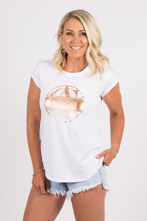 Amoureux Coco Tee in White/Rose Gold