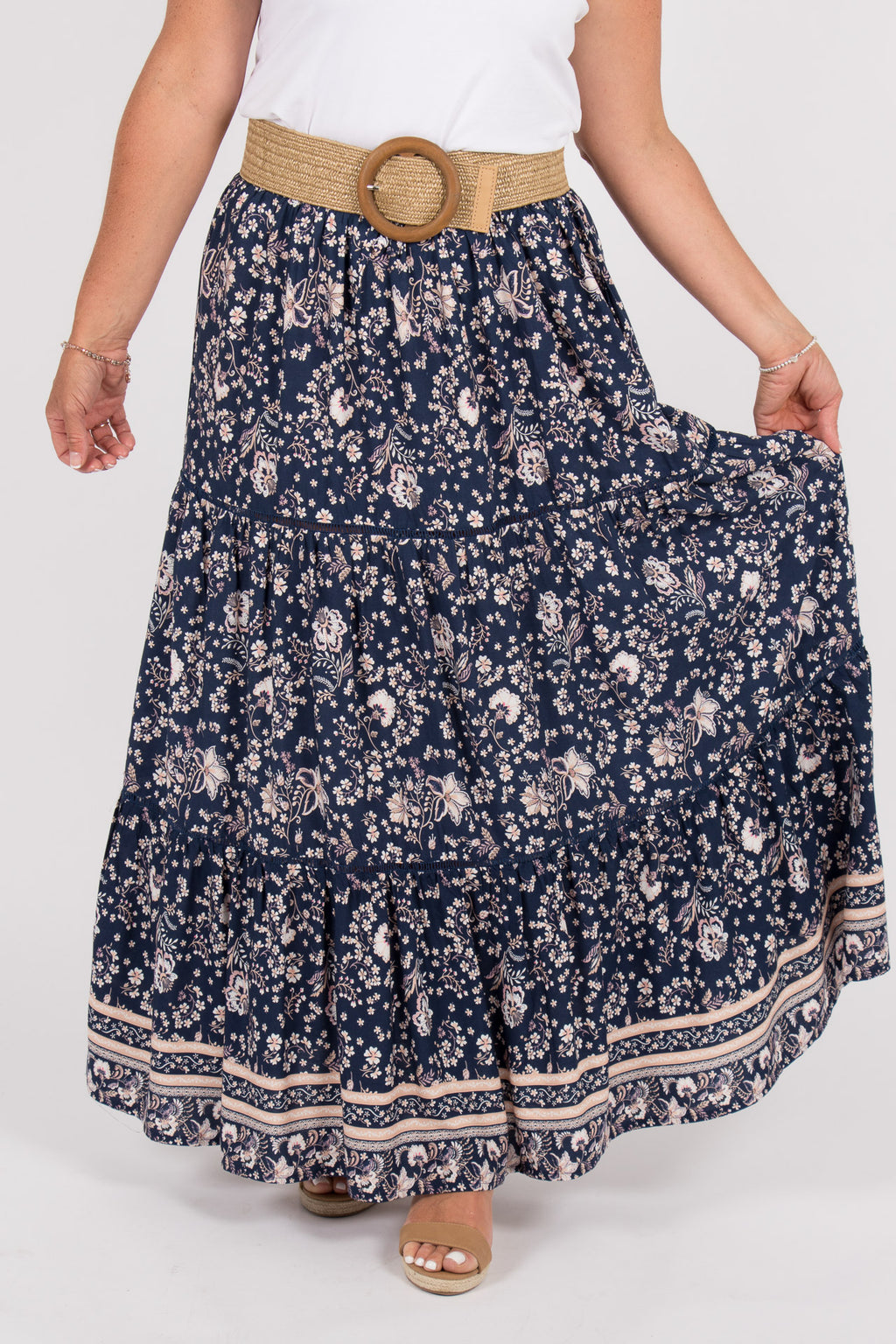 Arizona Maxi Skirt in Navy Peach