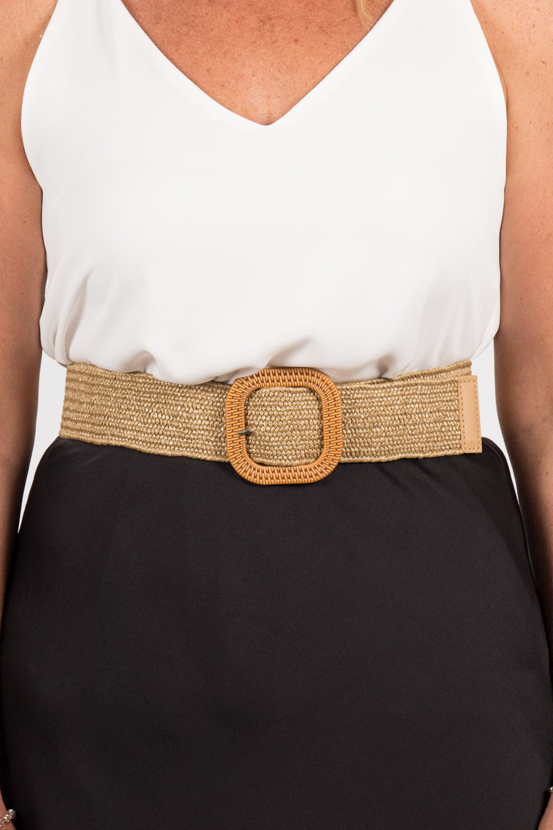 Carlton Stretch Belt in Natural/Square
