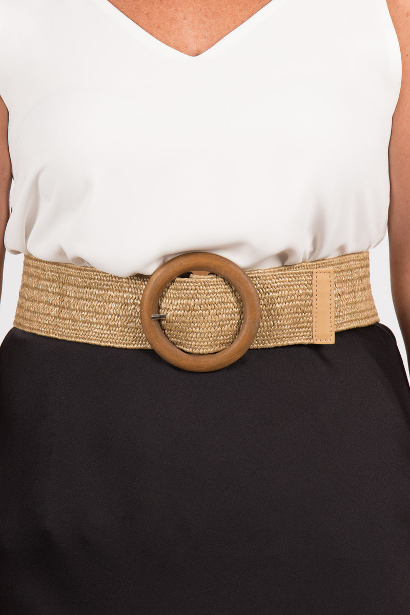 Indie Stretch Belt in Natural/Circle
