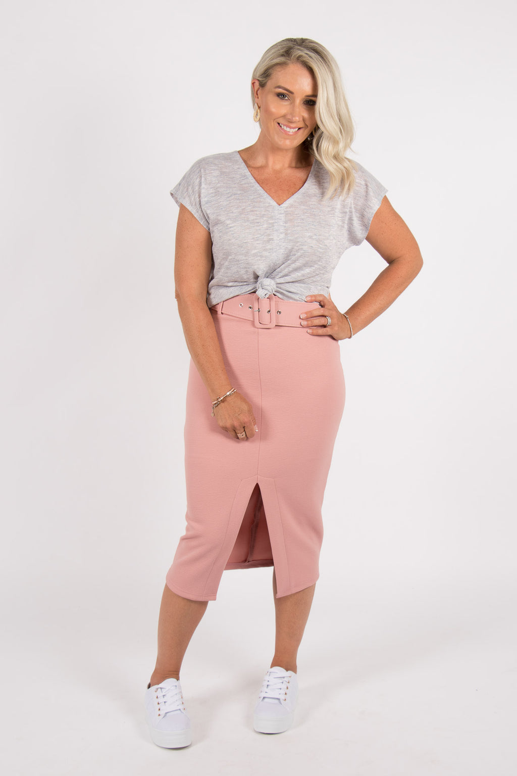 Allie Pencil Skirt in Sweet Pink