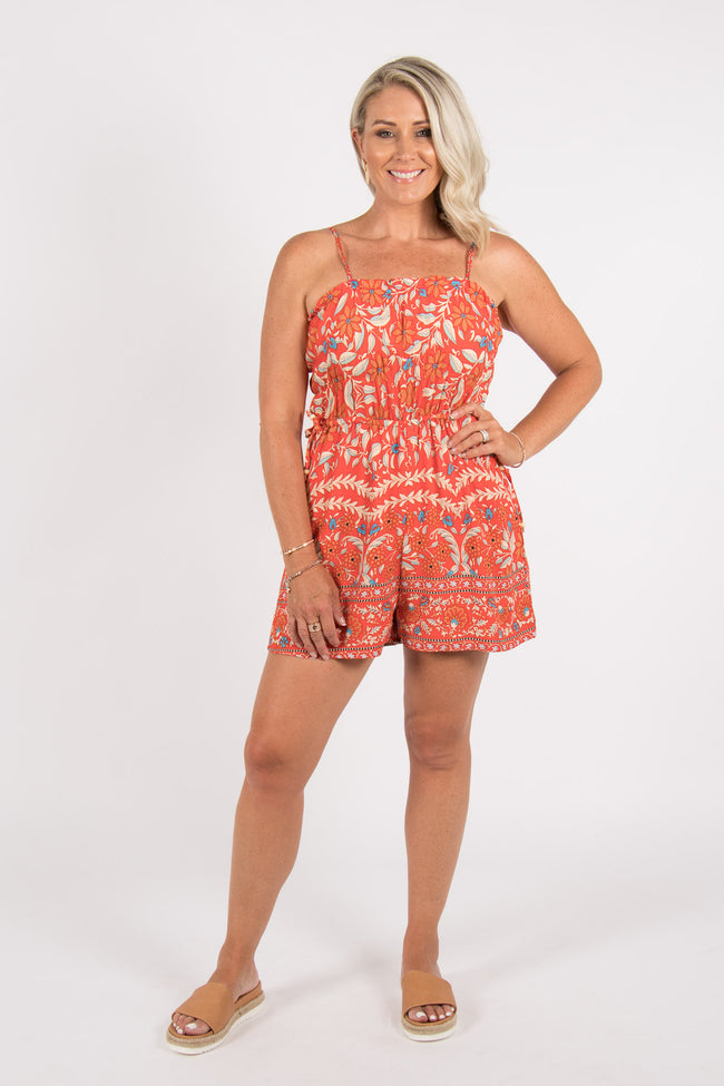Aurora Playsuit in Tangerine