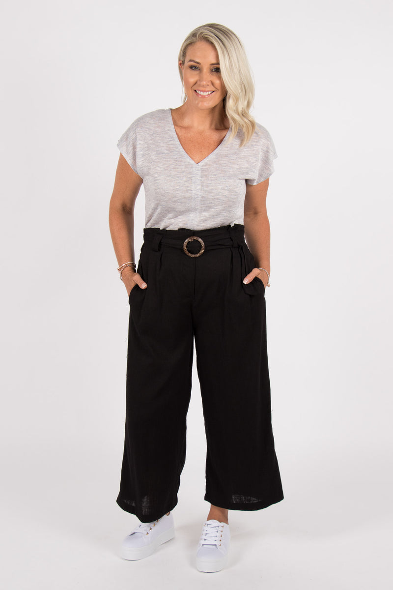 Adelaide Linen Pants in Black