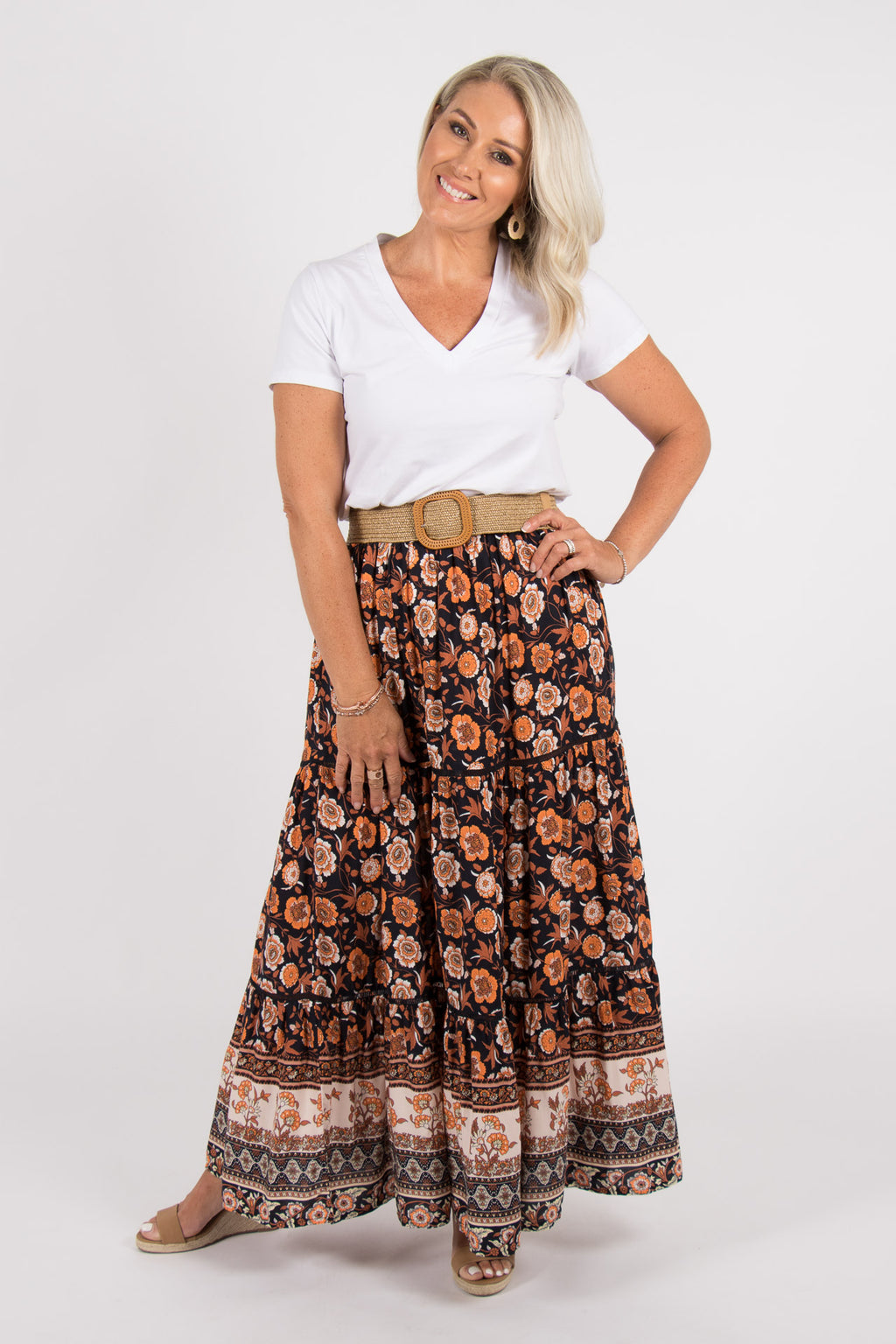 Arizona Maxi Skirt in Black/Orange