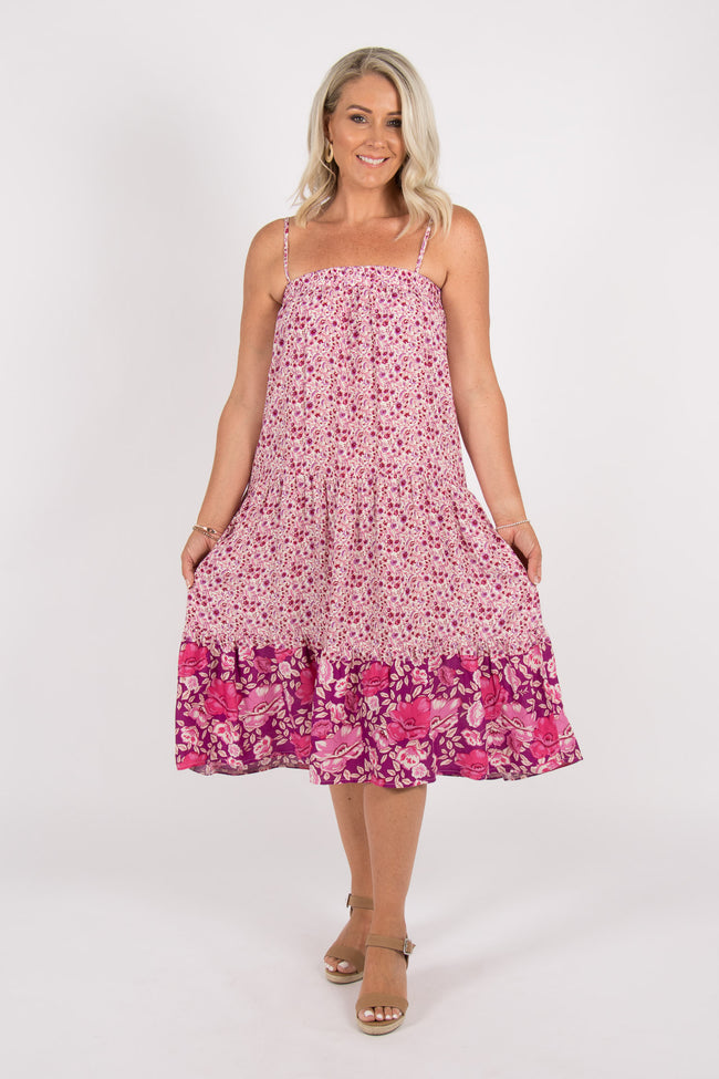 Kellie Dress in Spring Magenta