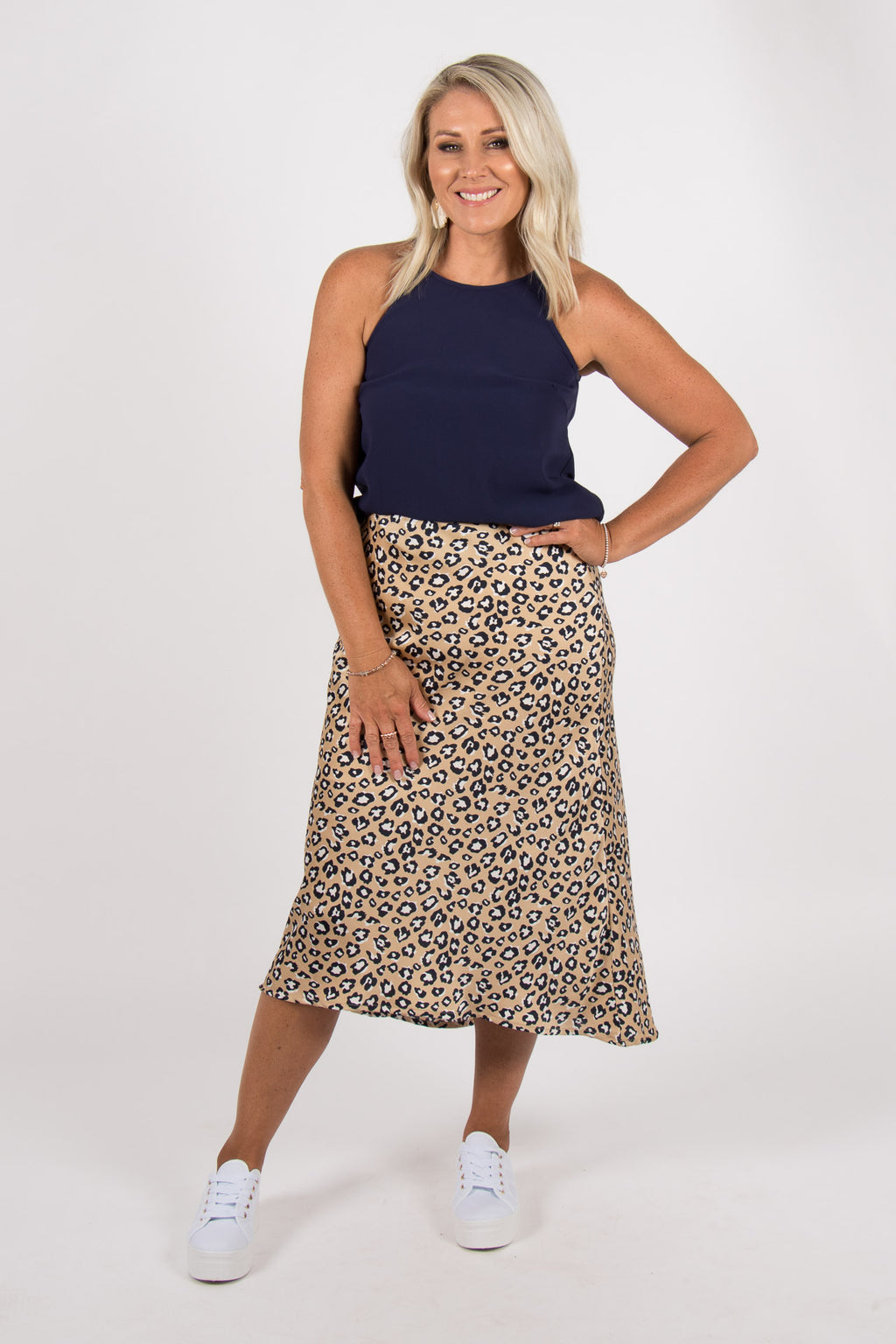 Rani Midi Skirt in Champagne