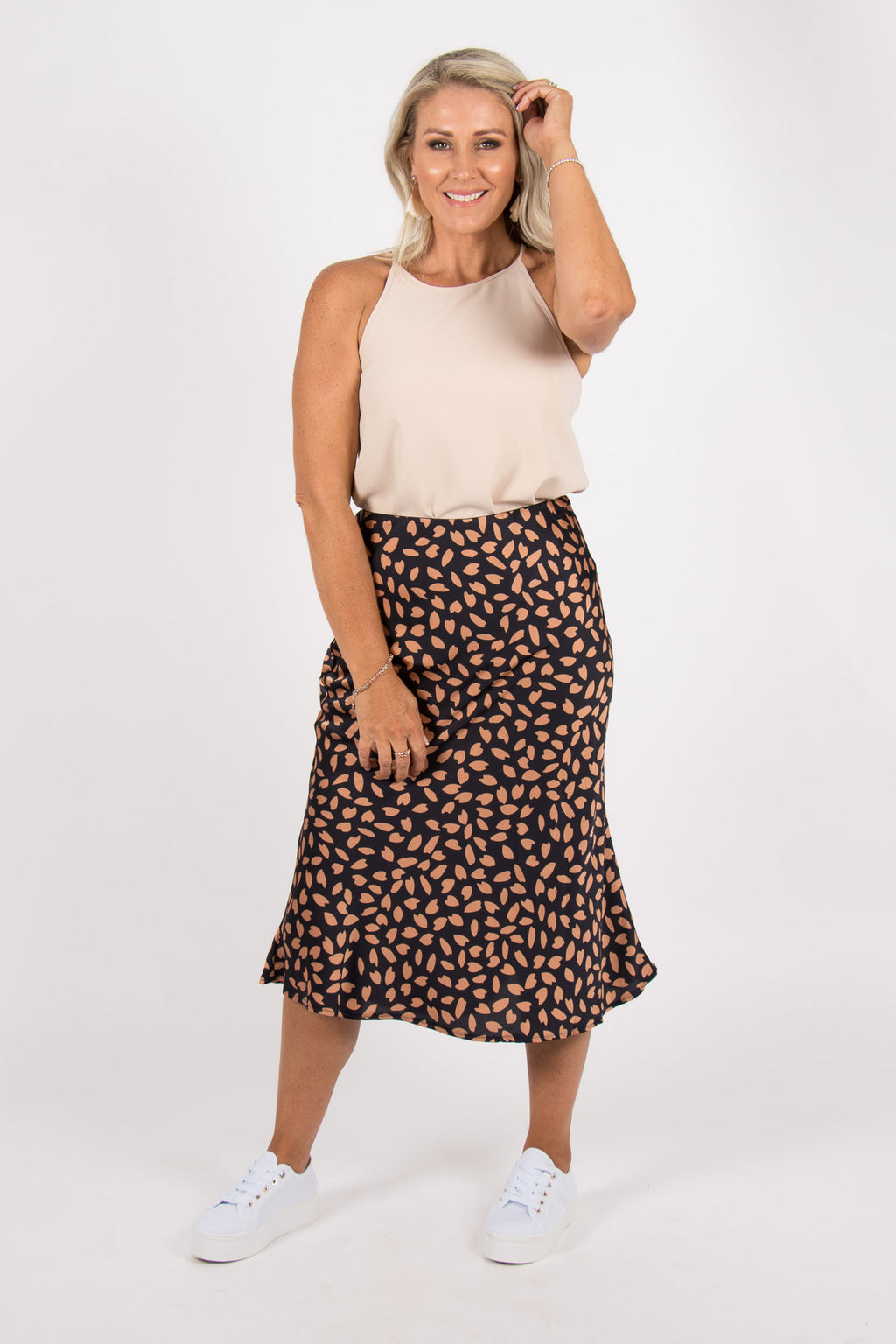 Rozelle Skirt in Navy/Rose Gold