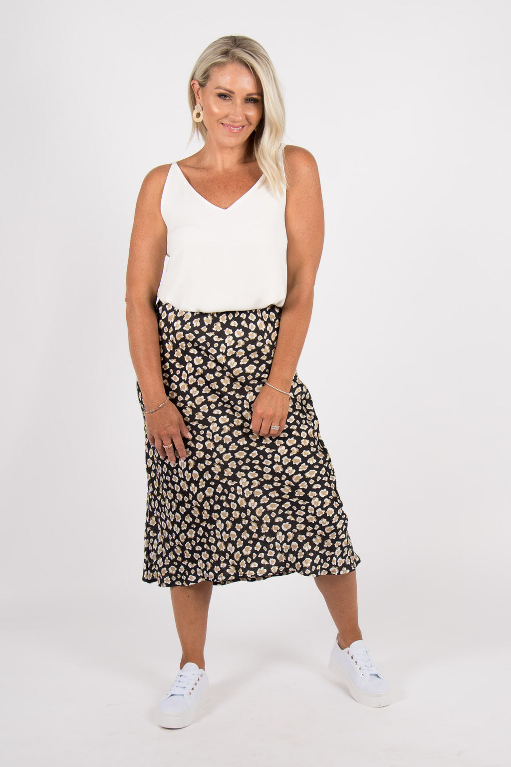 Rani Midi Skirt in Black Animal