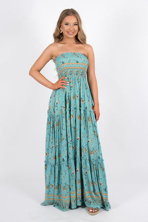 Berry Maxi Dress in Turquoise