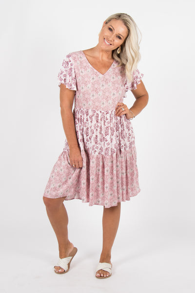 Ibiza Tier Dress in Pink