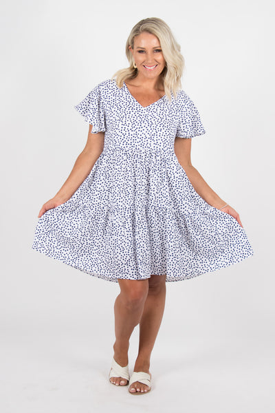 Montague Tier Dress in White