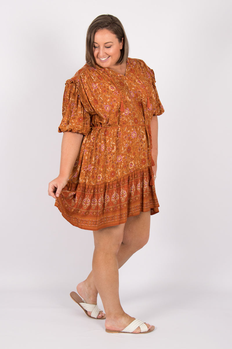 Gracious Dress in Terracotta
