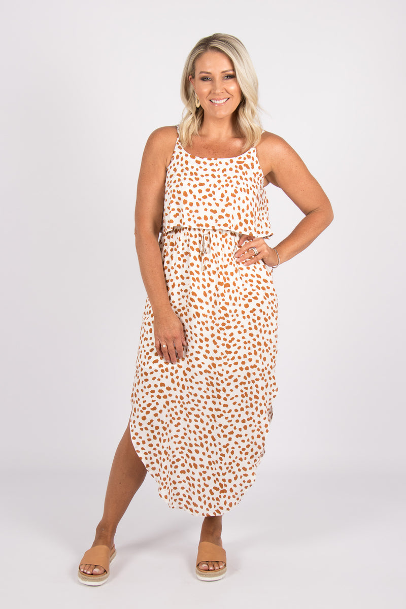 Sharlene Dress in White/Copper