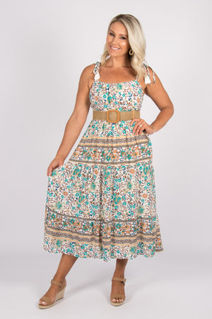 Tamsin Dress in Teal Garden