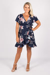 Corinda Wrap Dress in Navy