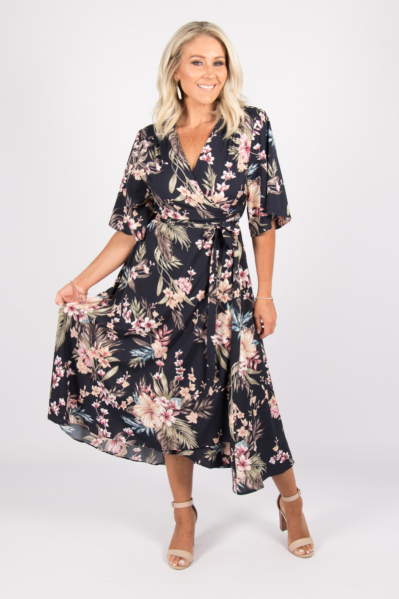 Illusions Wrap Dress in Midnight