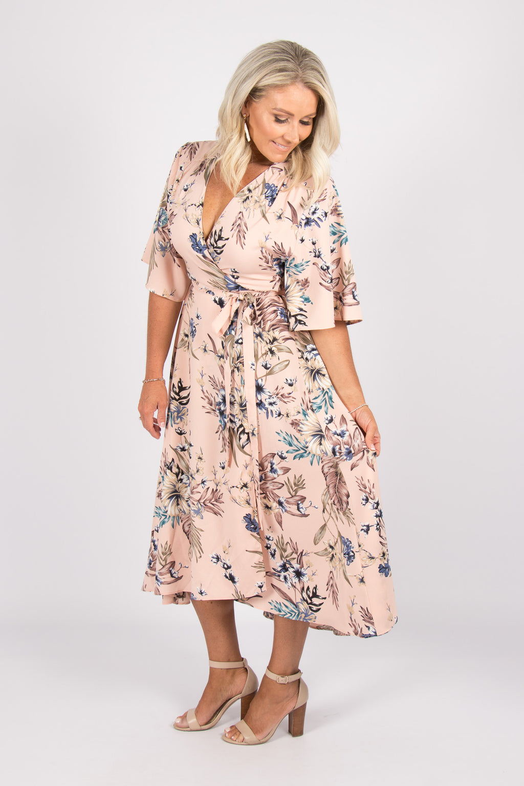 Illusions Wrap Dress in Soft Peach