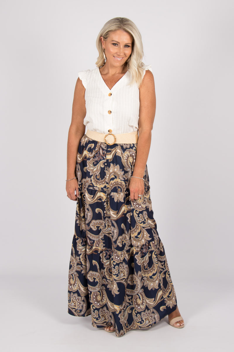 Nagaon Maxi Skirt in Roman Navy