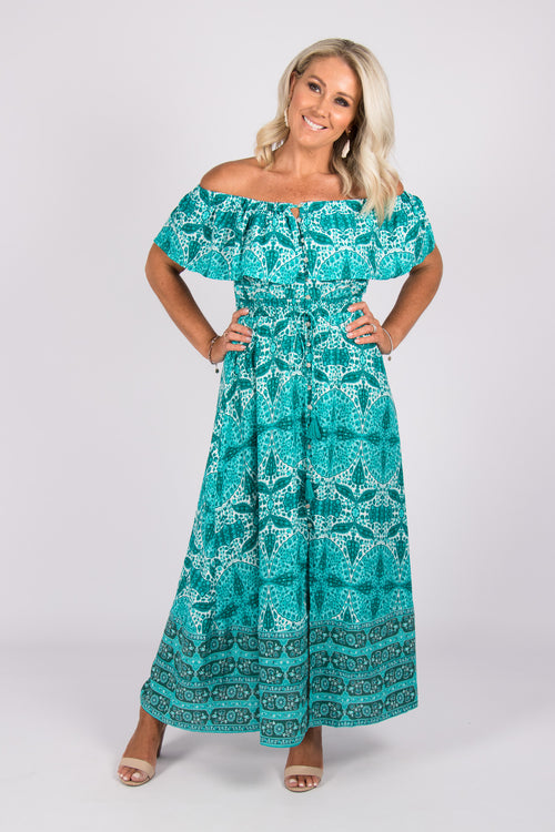 Highgate OTS Dress in Turquoise