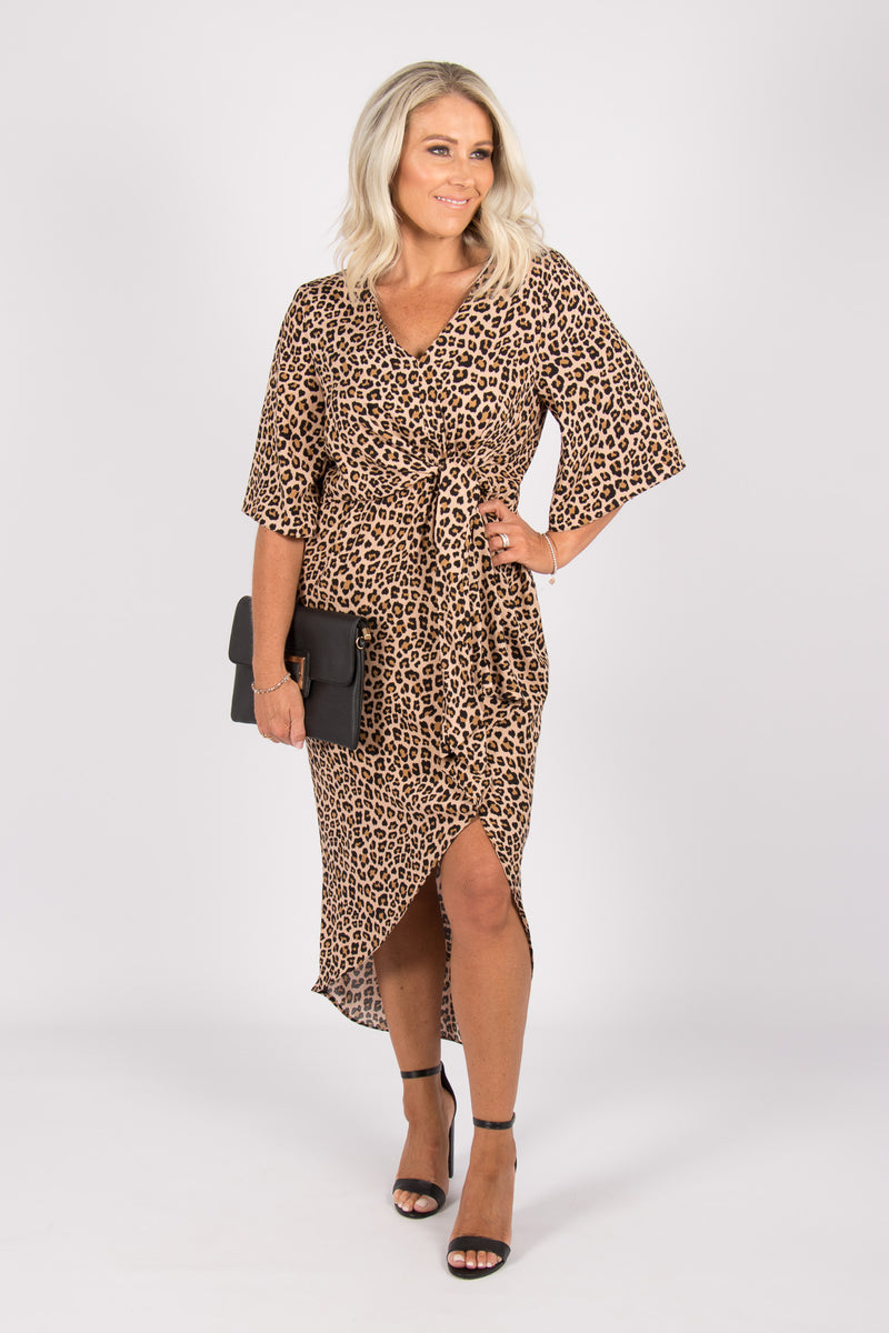 Pozieres Dress in Tan Leopard