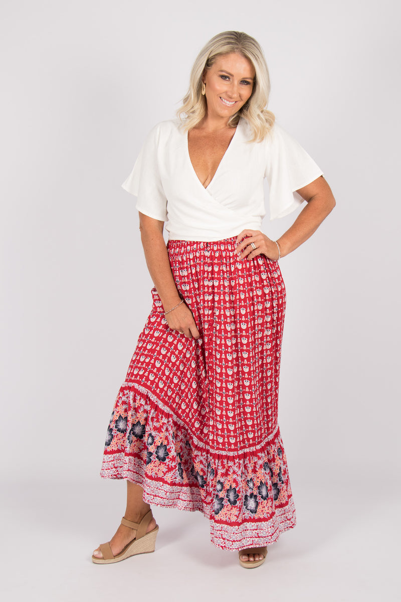 Holidays Maxi Skirt in Red