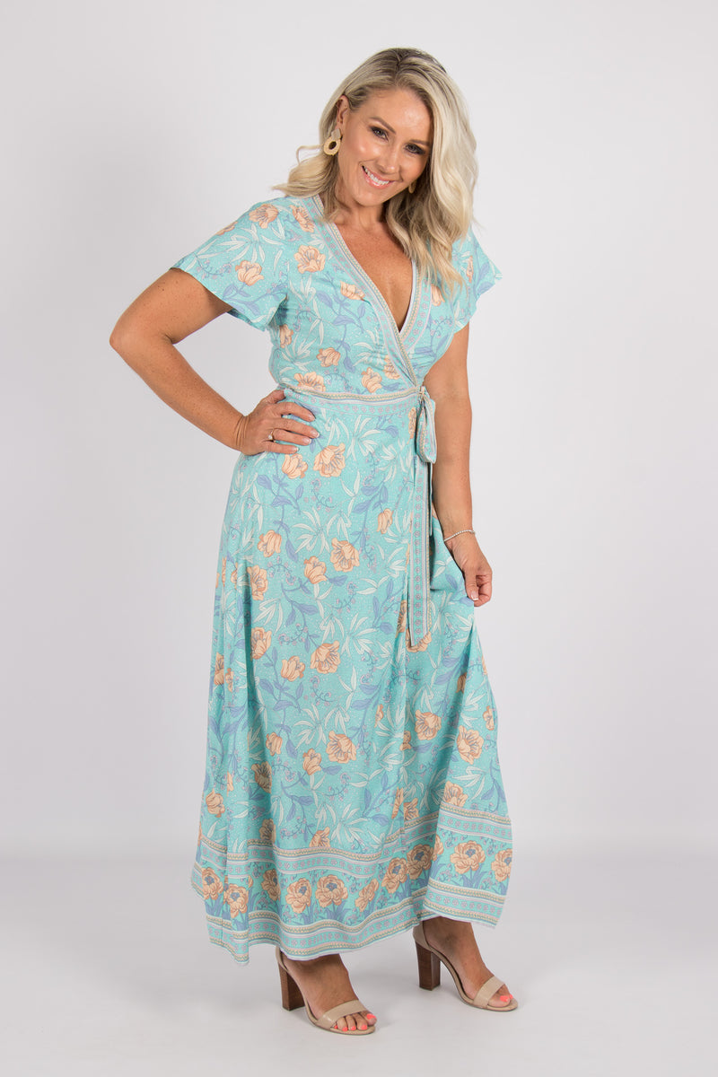 Piper Wrap Dress in Aqua Blue