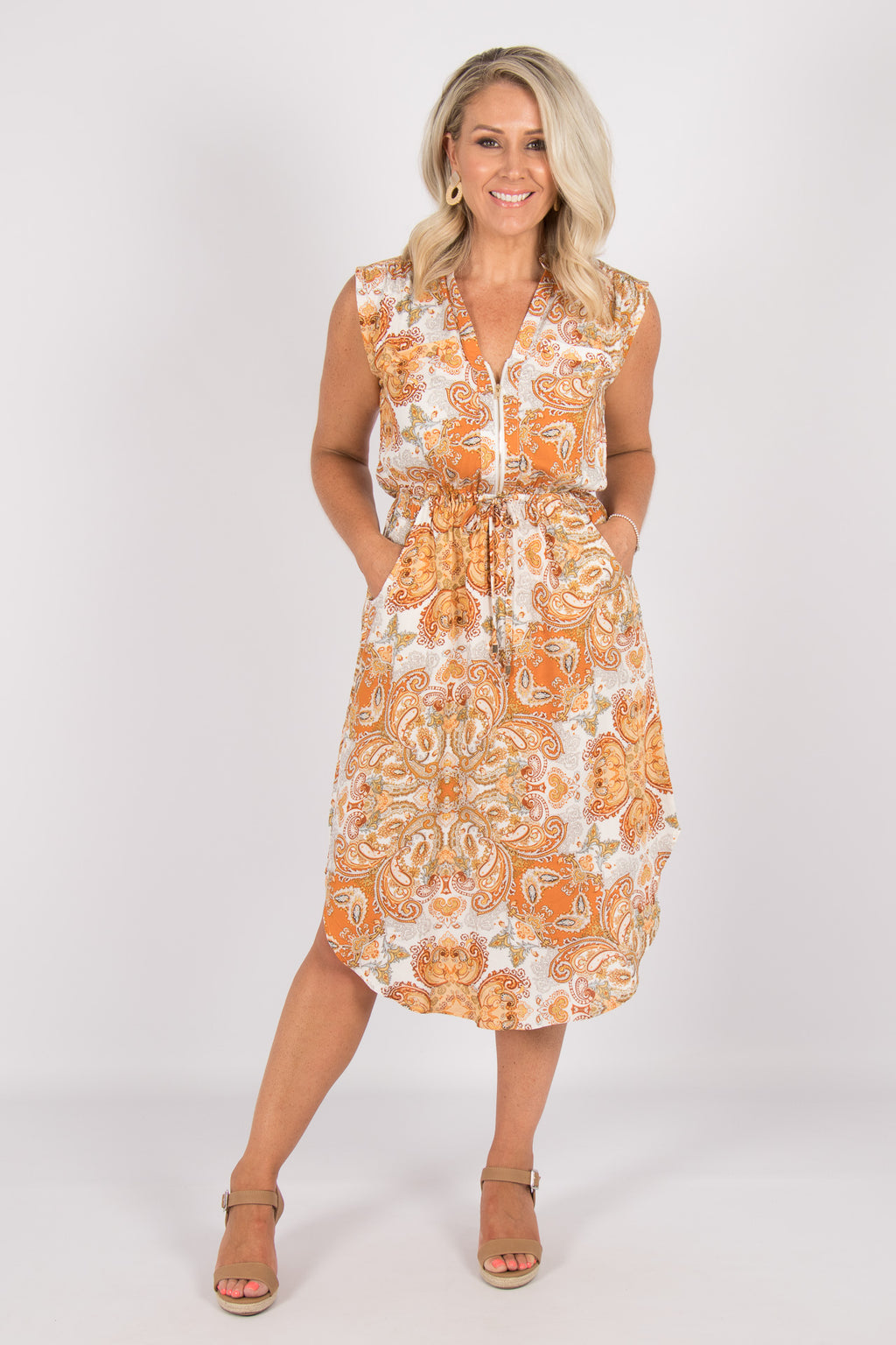Fairmont Midi Dress in Orange Paisley