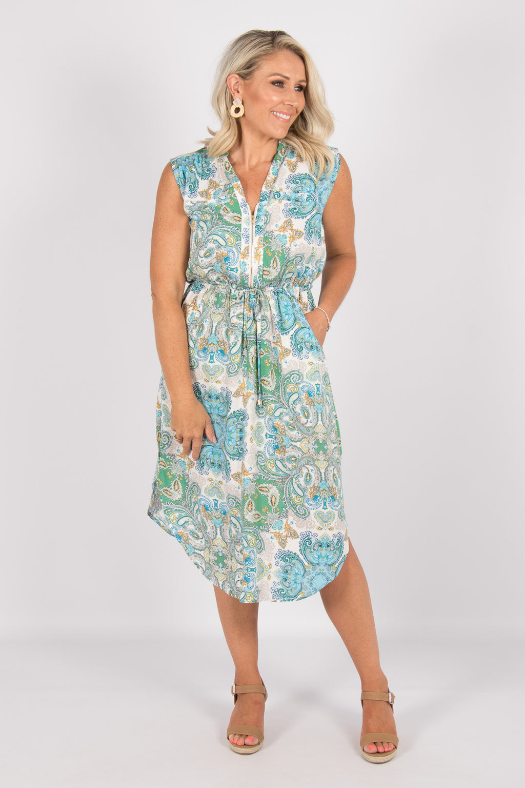 Fairmont Midi Dress in Green/Blue Paisley
