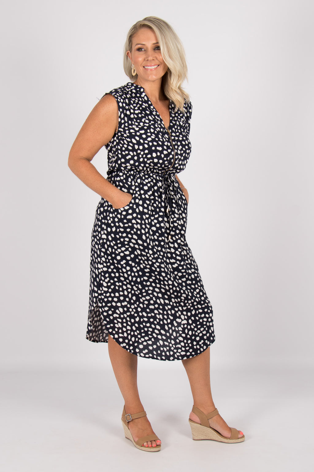 Fairmont Midi Dress in Navy/White
