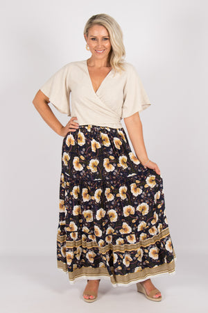Arizona Maxi Skirt in Navy/Yellow Floral