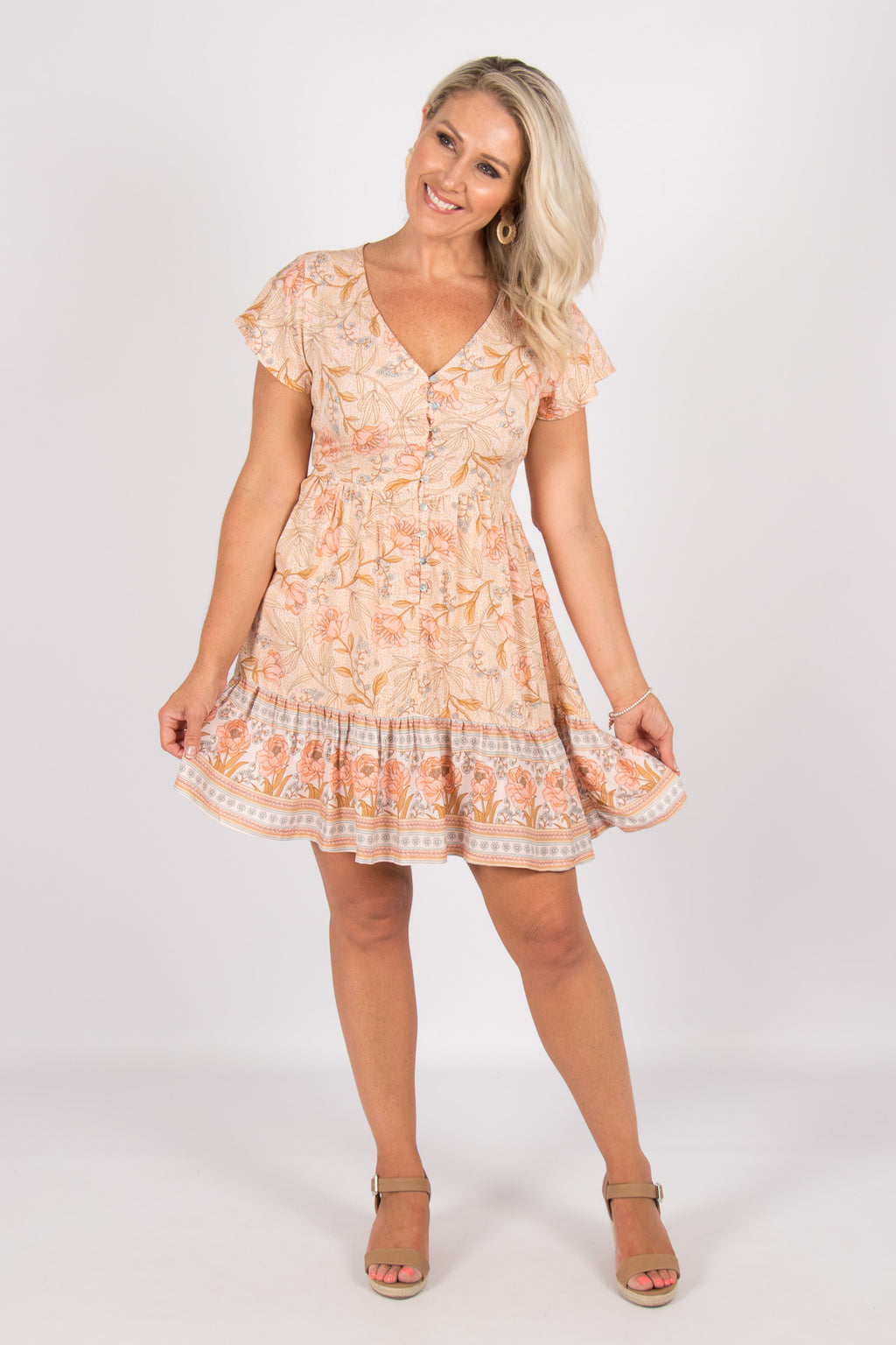 Karmin Dress in Peach