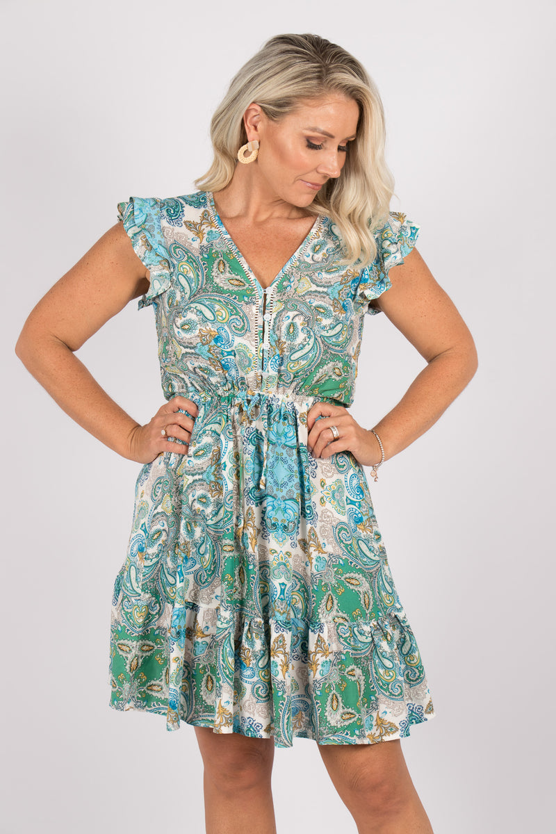 Milsons Dress in Blue Paisley
