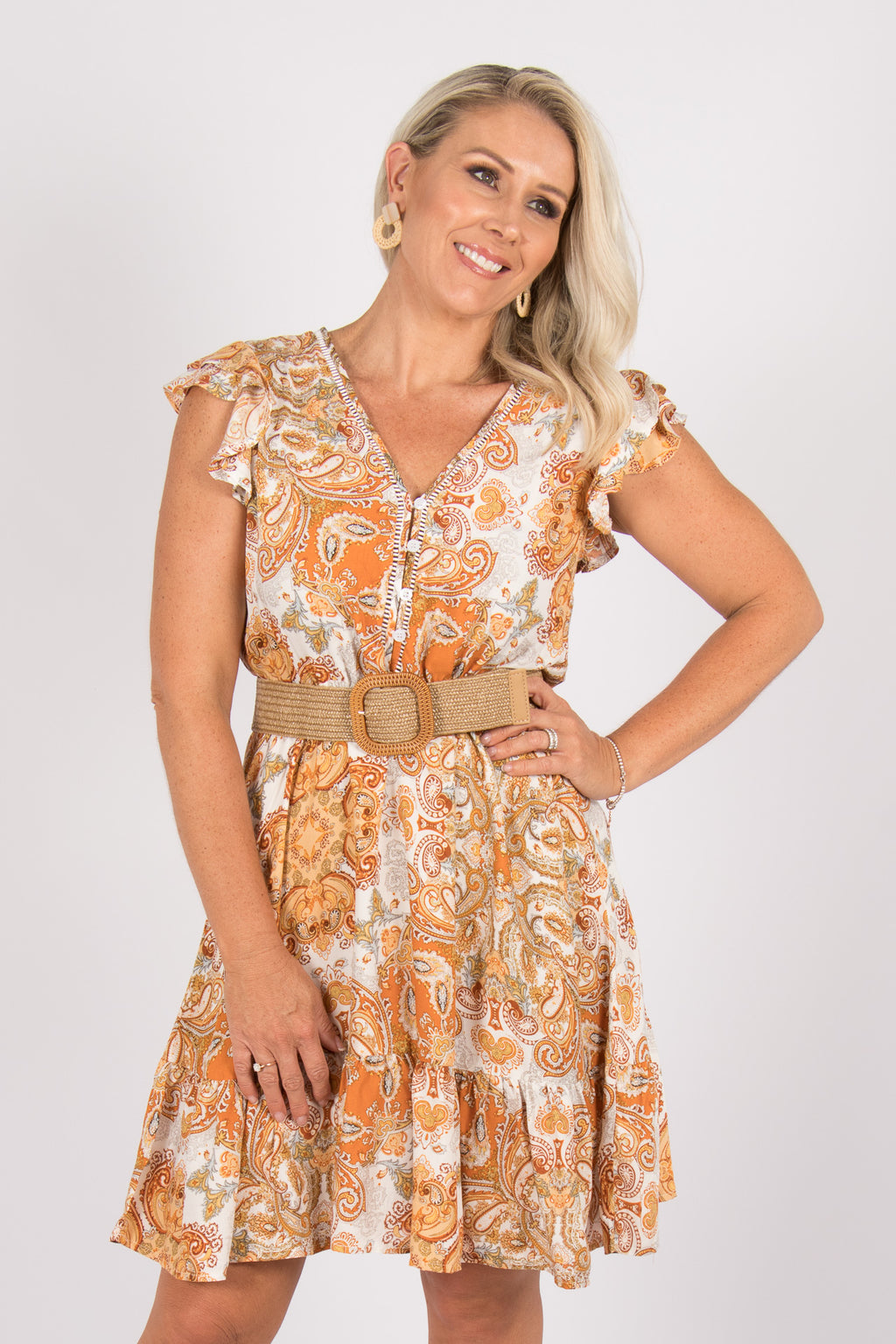 Milsons Dress in Orange Paisley