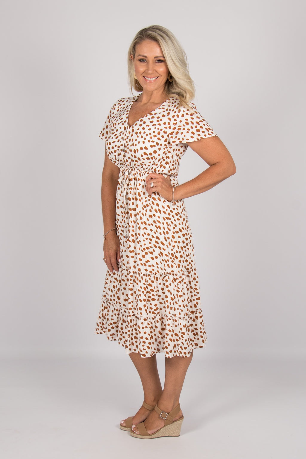 Kingston Dress in White/Copper