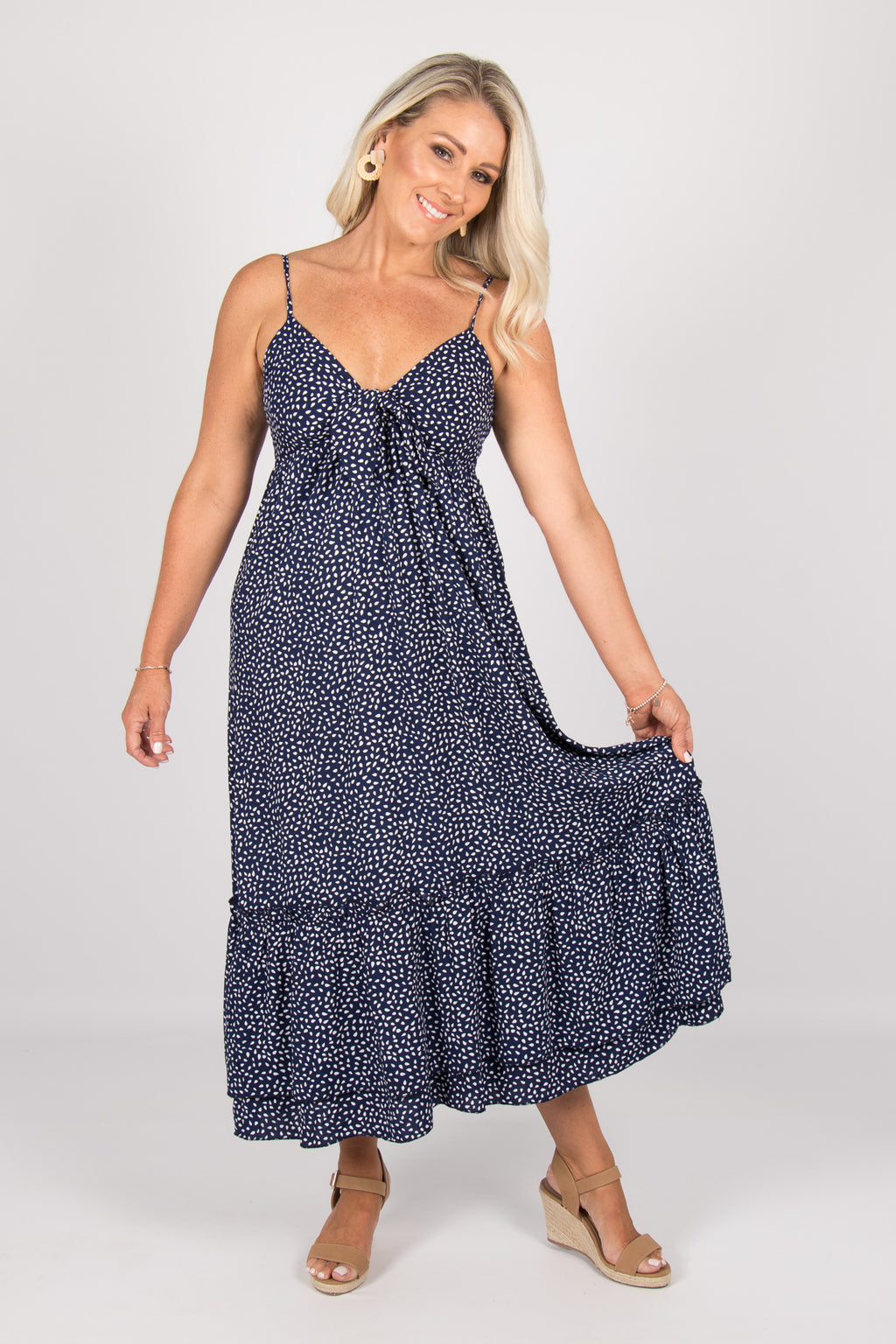 Lydia Dress in Navy Spot