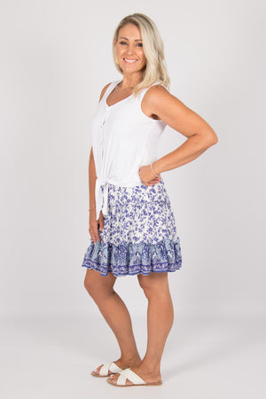 Tina Skirt in Blue Floral