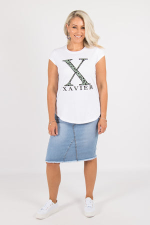 Xavier Tee in White/Olive