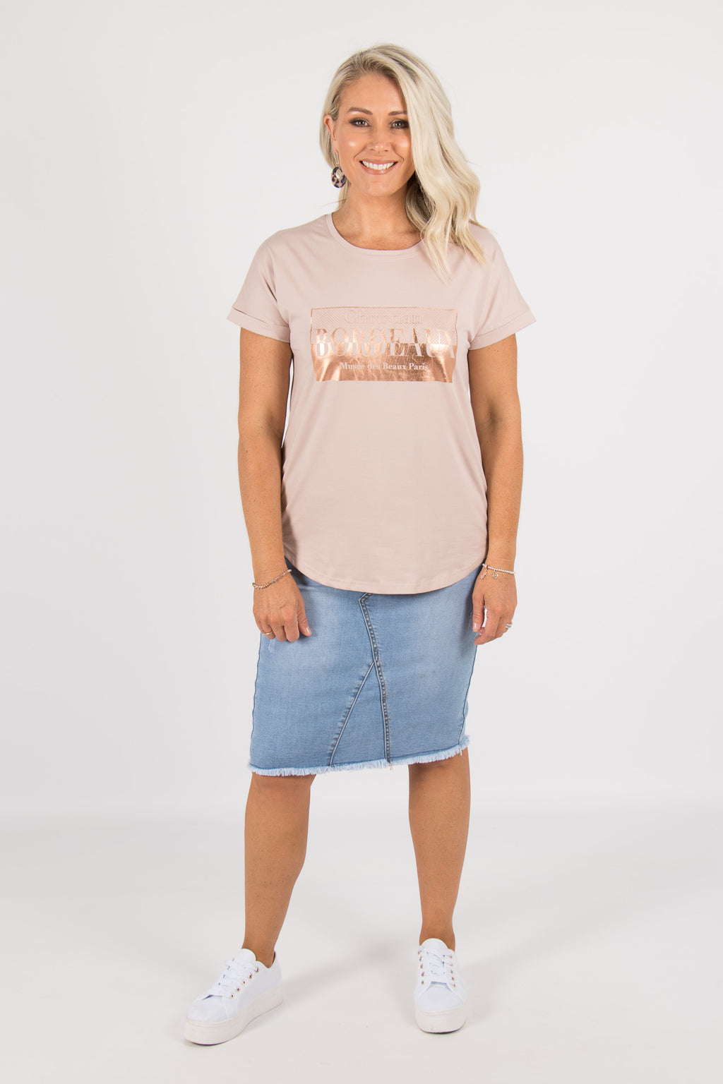 Bordeaux Tee in Mushroom/Rose Gold
